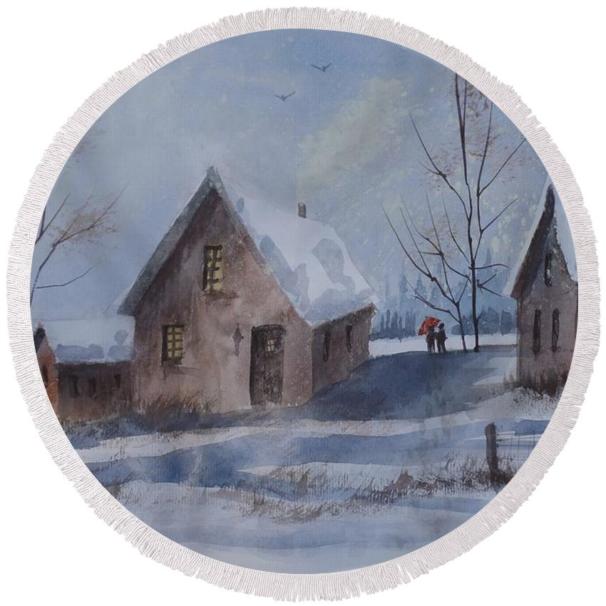 Winter Walk Round Beach Towel featuring the painting Winter Walk, Watercolor Painting by David K Myers