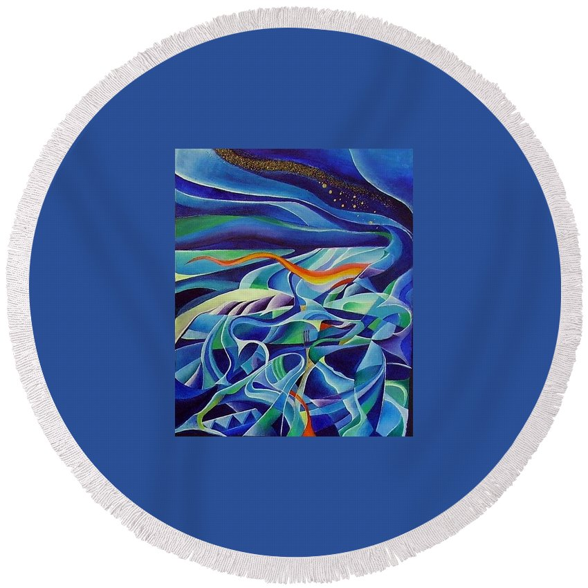 Winter Vivaldi Music Abstract Acrylic Round Beach Towel featuring the painting Winter by Wolfgang Schweizer