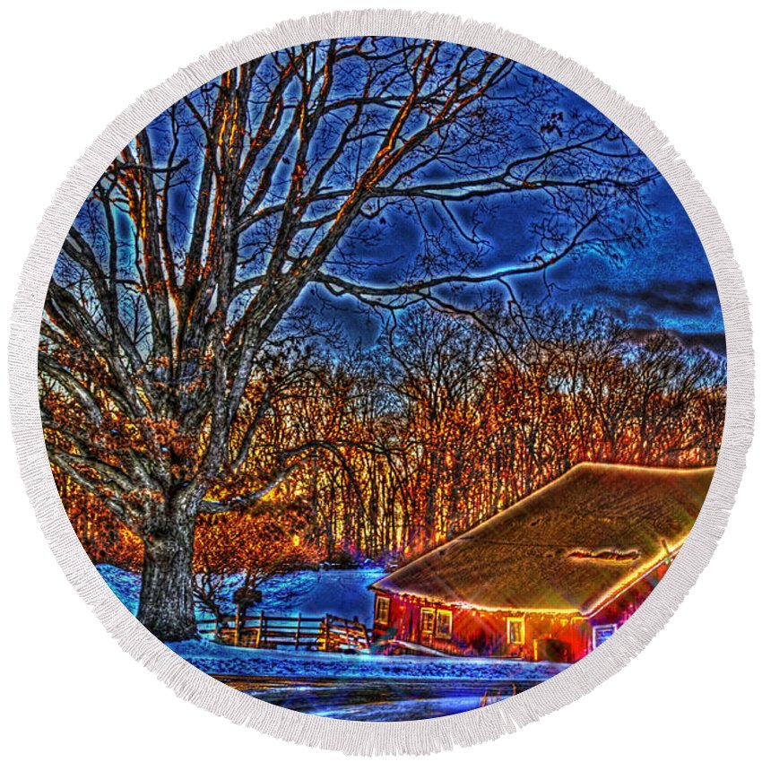 Country Round Beach Towel featuring the photograph Winter Wonderland Hdr by September Stone