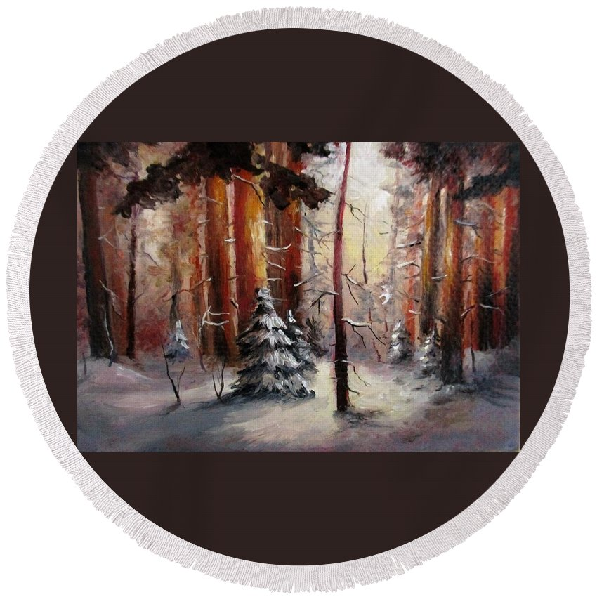 Winter Trees Round Beach Towel featuring the painting Winter wood aceo painting by Natalja Picugina
