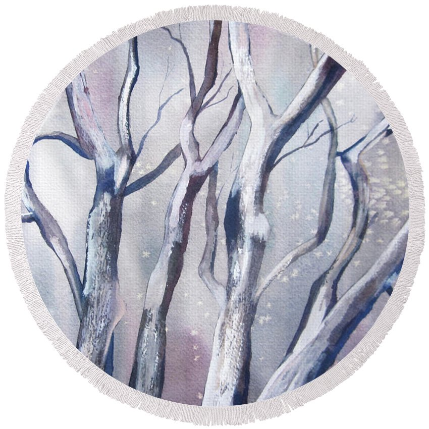 Landscape Round Beach Towel featuring the painting Winter Woods by Pat Vickers