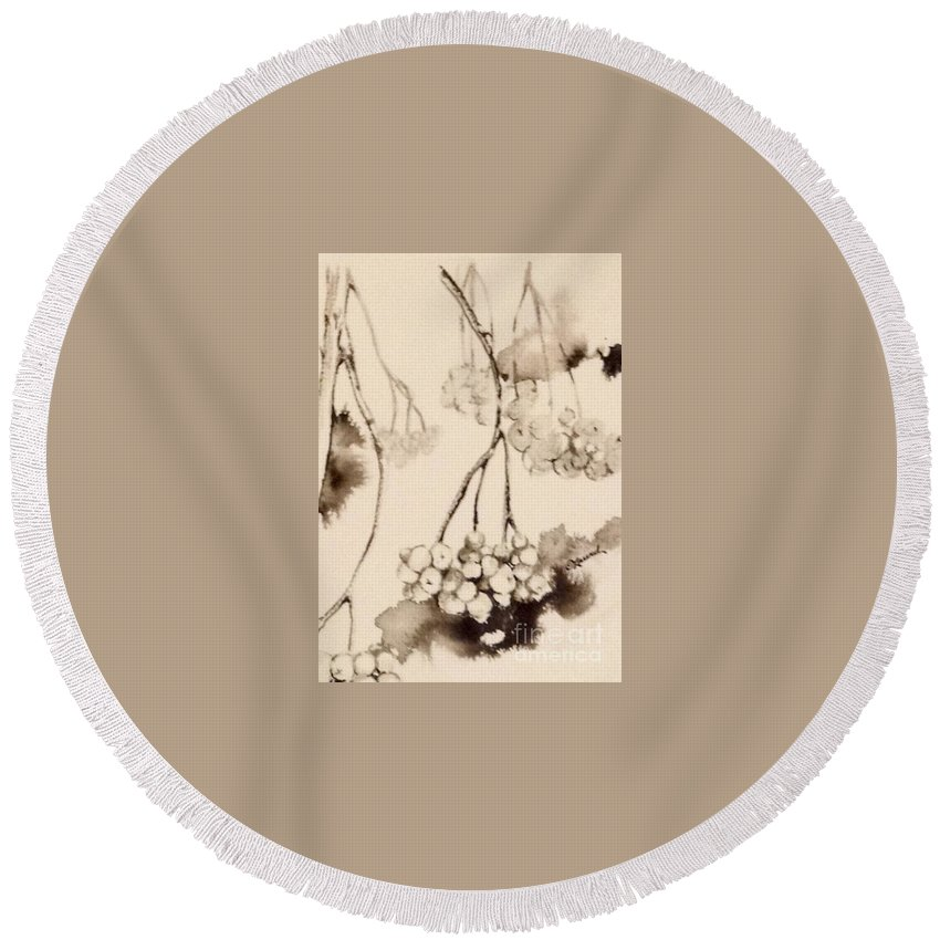 Chiaroscuro Round Beach Towel featuring the painting Winterberries by Laurel Adams