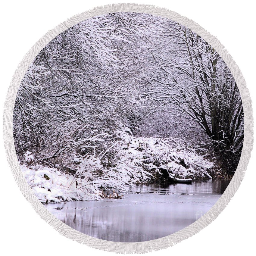 Landscape Round Beach Towel featuring the photograph Winters First Icy Breath by Baggieoldboy