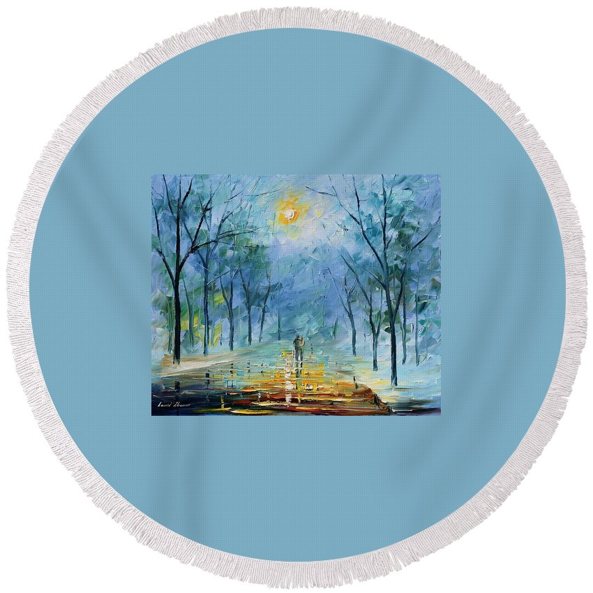 Afremov Round Beach Towel featuring the painting Winter's Fog by Leonid Afremov