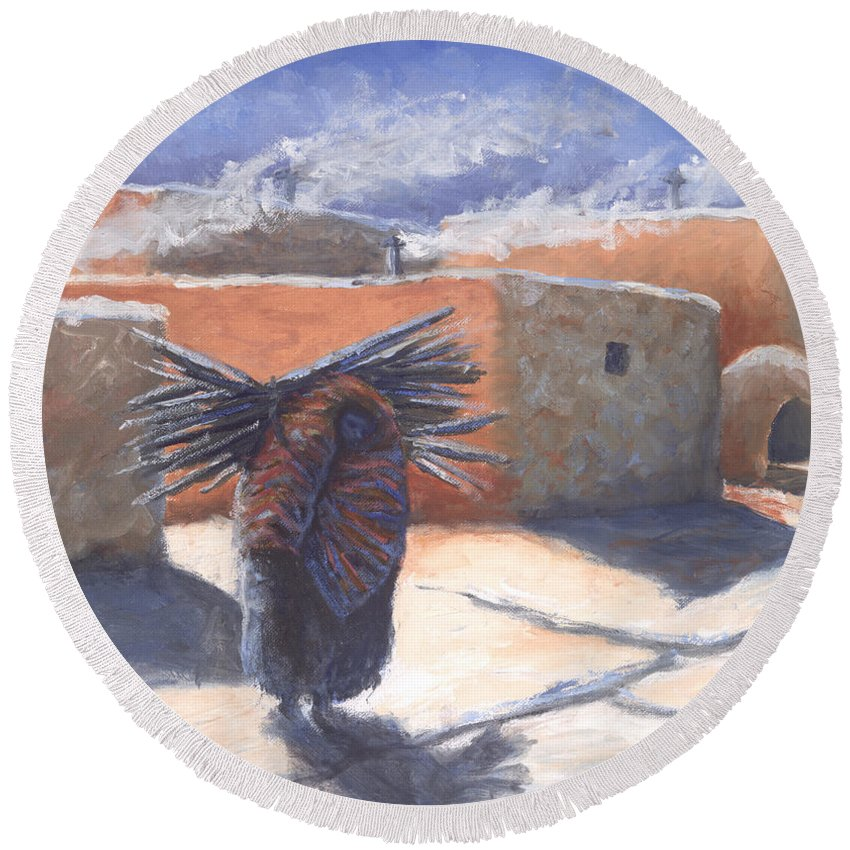 Adobe Round Beach Towel featuring the painting Winter's Work by Jerry McElroy