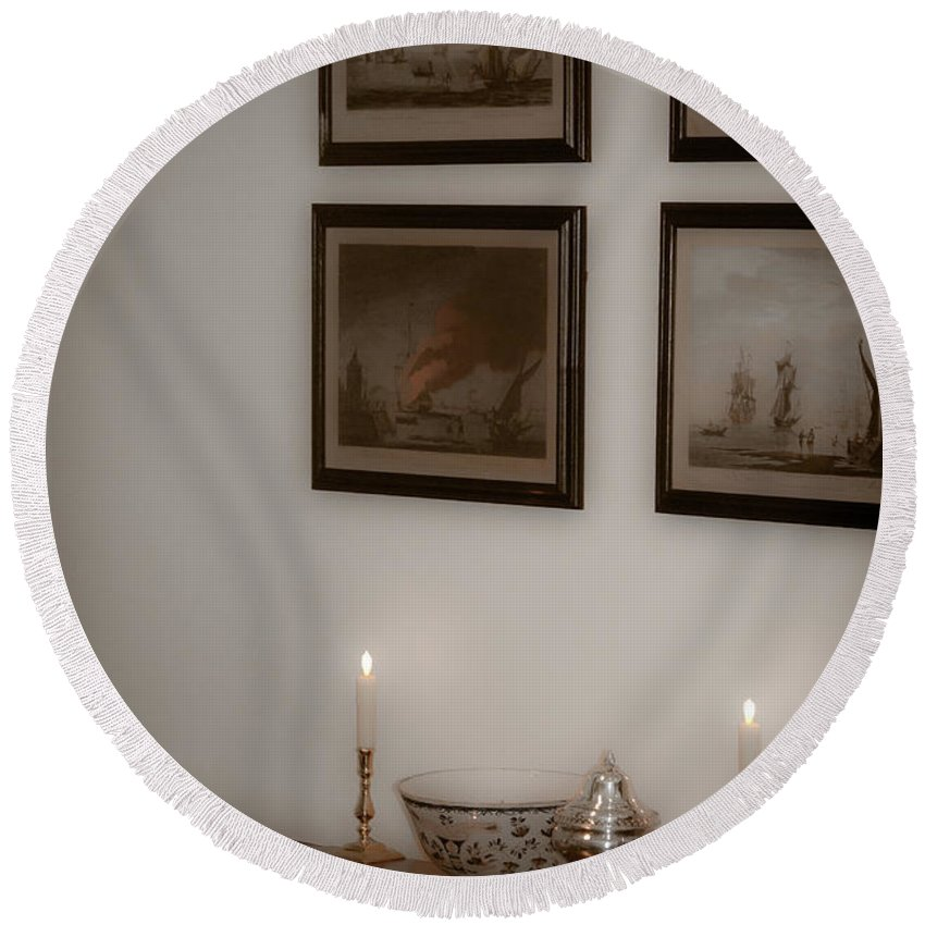 Portrait Round Beach Towel featuring the photograph Winterthur By Candlelight by Trish Tritz