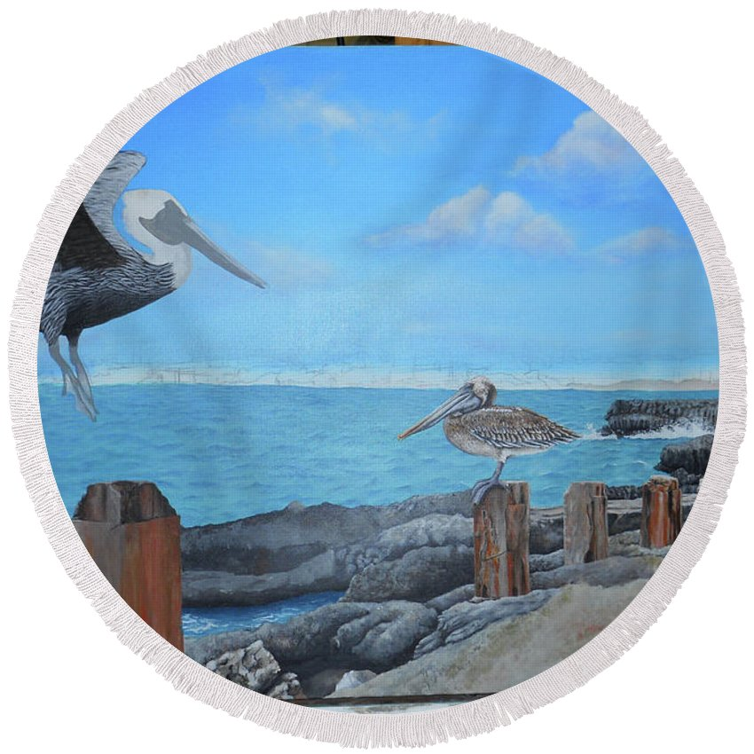 Round Beach Towel featuring the painting Wip- Pelican 03 by Cindy D Chinn