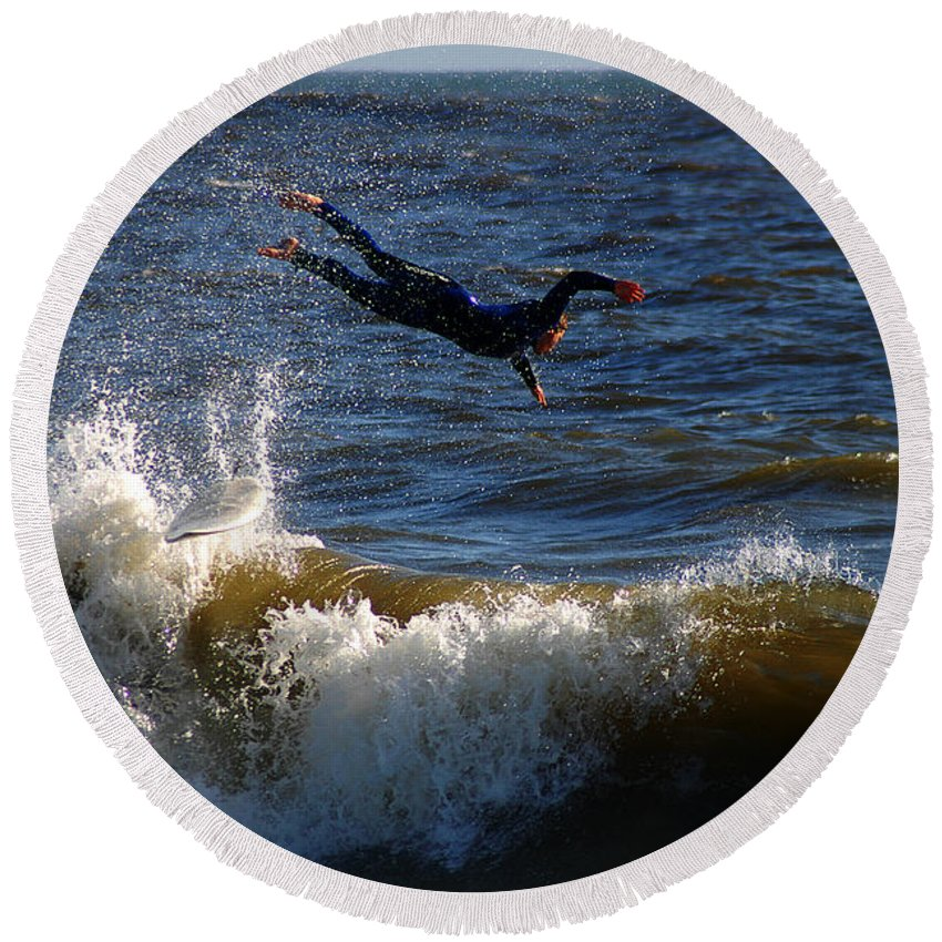 Clay Round Beach Towel featuring the photograph Wipe Out by Clayton Bruster