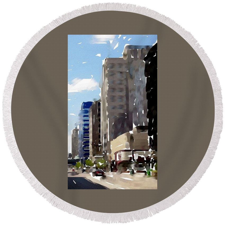 Milwaukee Round Beach Towel featuring the digital art Wisconsin Ave 1 by Anita Burgermeister