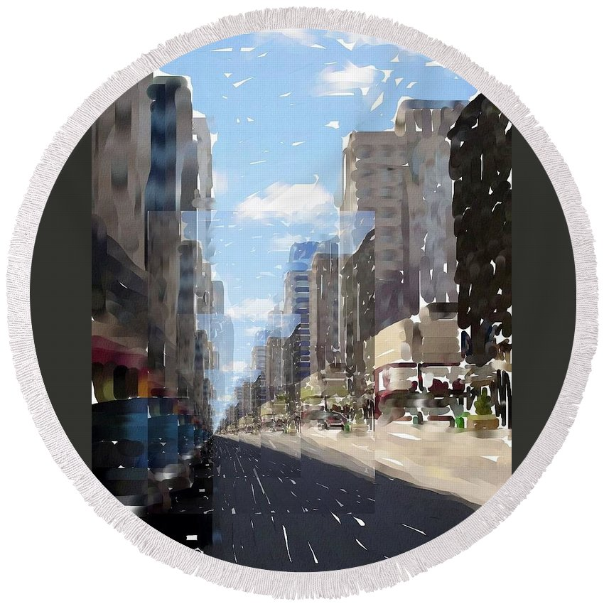 Milwaukee Round Beach Towel featuring the digital art Wisconsin Ave Cubist by Anita Burgermeister