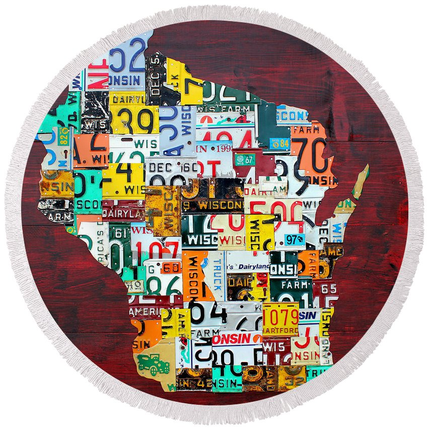 Wisconsin Counties Vintage Recycled License Plate Map Art On Red Barn Wood Round Beach Towel featuring the mixed media Wisconsin Counties Vintage Recycled License Plate Map Art On Red Barn Wood by Design Turnpike