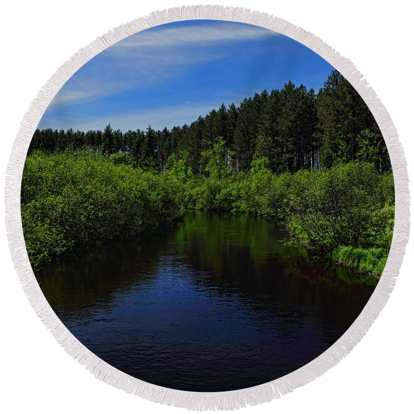 Dale Kauzlaric Round Beach Towel featuring the photograph Wisconsin River In Vilas County by Dale Kauzlaric