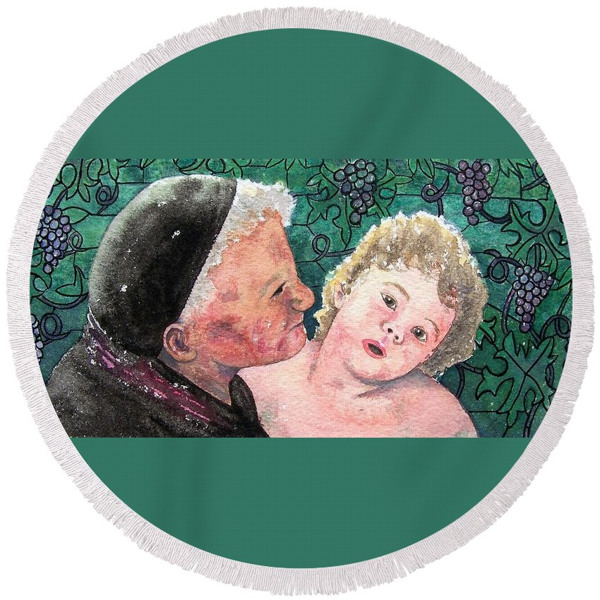 Child Round Beach Towel featuring the painting Wisdom And Innocence by Gale Cochran-Smith