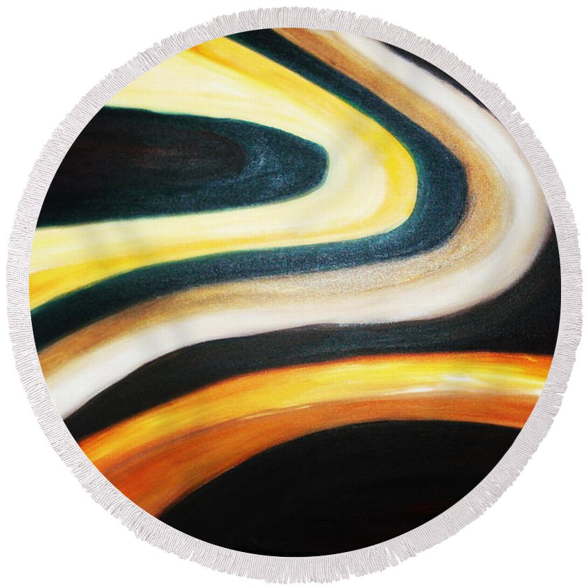 Acrylic Painting Round Beach Towel featuring the painting Wisdom by Yael VanGruber