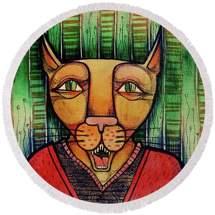 Artwork Round Beach Towel featuring the painting Wise Cat by Lidia Matviyenko