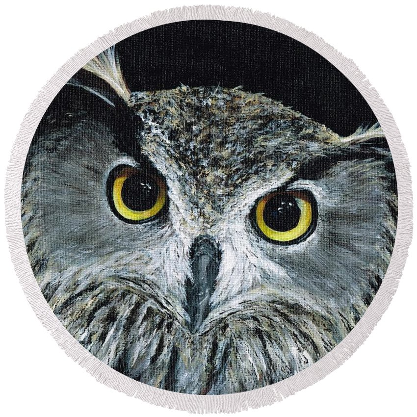 Owl Round Beach Towel featuring the painting Wise Eyes II by Michelle Muck