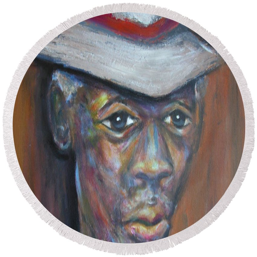 Round Beach Towel featuring the painting Wise Old Man by Jan Gilmore