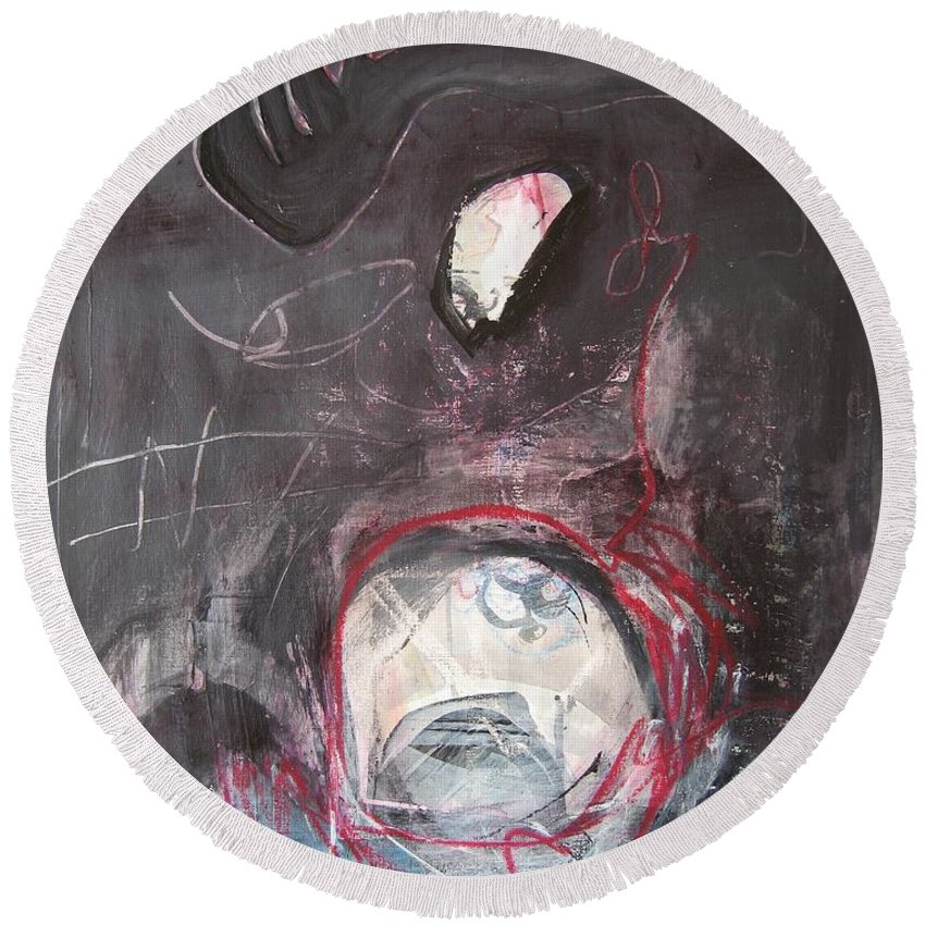 Abstract Paintings Round Beach Towel featuring the painting Wish Moon by Seon-Jeong Kim