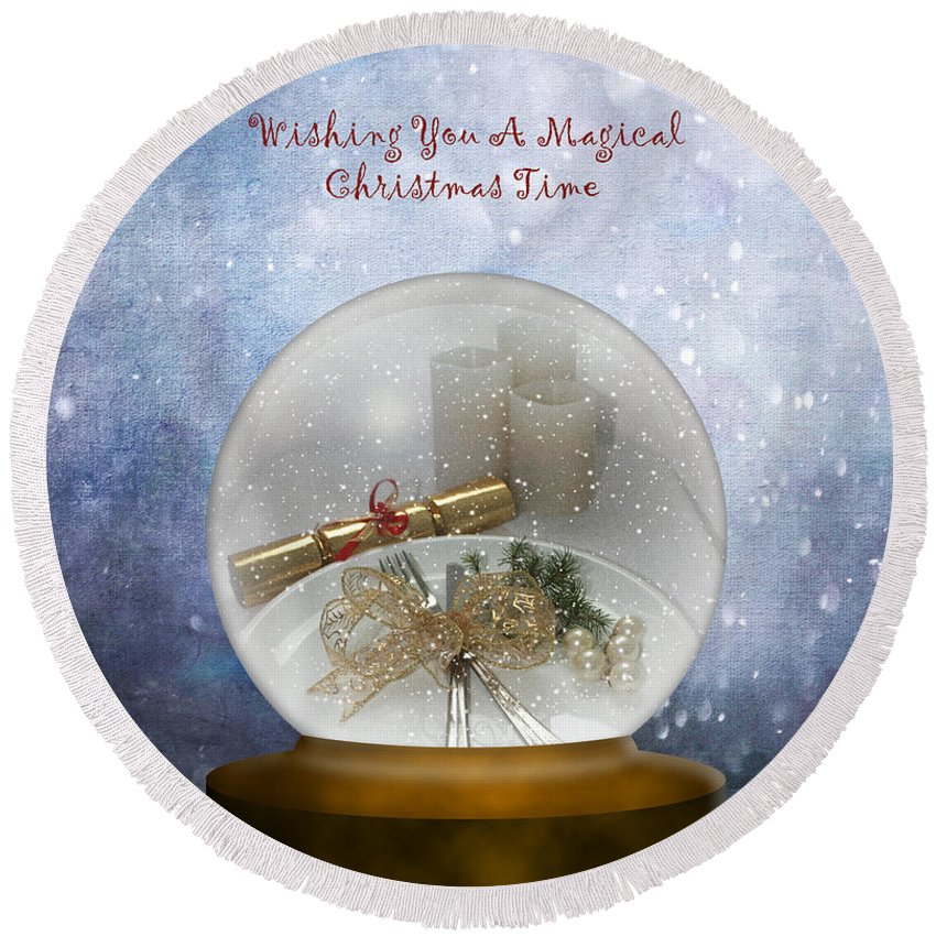 Snow Round Beach Towel featuring the photograph Wishing You A Magical Christmas Time by Terri Waters