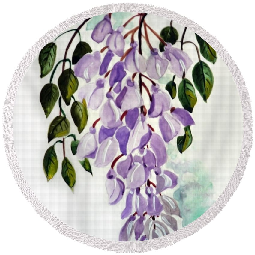 Floral Paintings Flower Paintings Wisteria Paintings Botanical Paintings Flower Purple Paintings Greeting Card Paintings  Round Beach Towel featuring the painting Wisteria by Karin Dawn Kelshall- Best