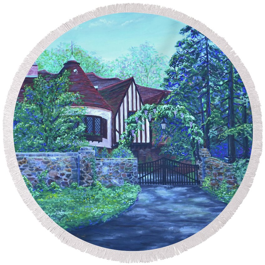 Landscape Round Beach Towel featuring the painting Wisteria Mansion by Bill Junor