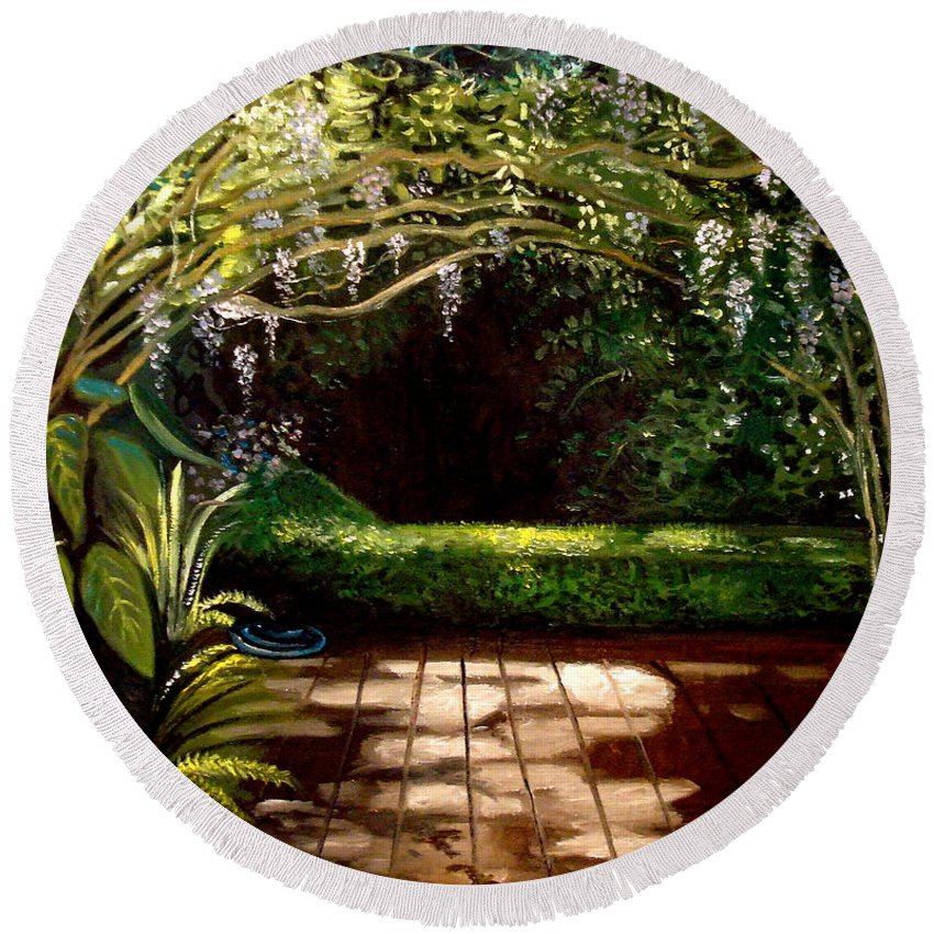 Landscape Round Beach Towel featuring the painting Wisteria Shadows by Elizabeth Robinette Tyndall