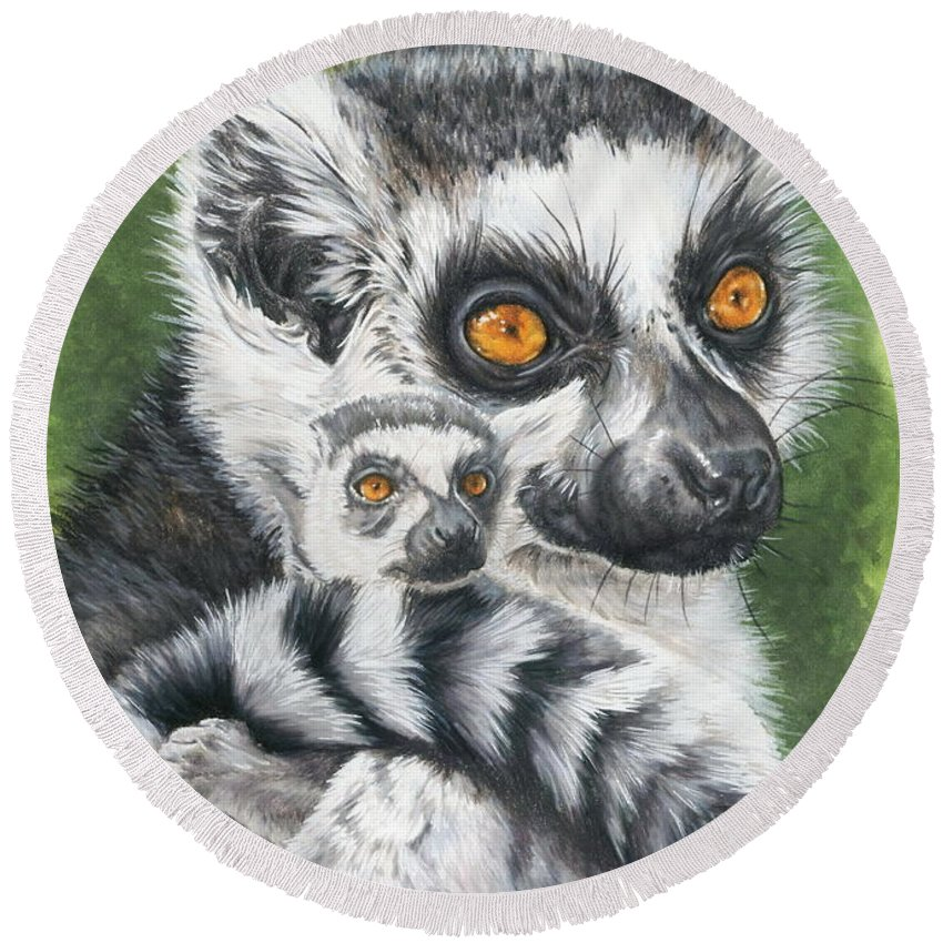 Lemur Round Beach Towel featuring the mixed media Wistful by Barbara Keith