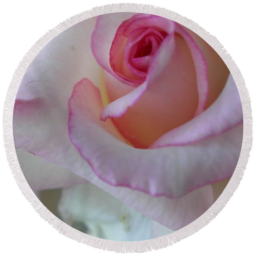 Rose Round Beach Towel featuring the photograph With A Dash Of Pink by LKB Art and Photography