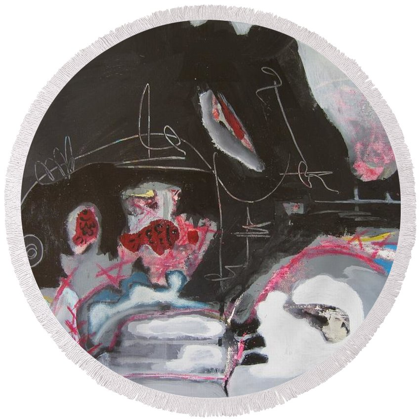 Abstract Paintings Round Beach Towel featuring the painting With Little Escape From Life by Seon-Jeong Kim