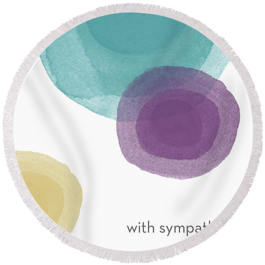 Sympathy Round Beach Towel featuring the mixed media With Sympathy Circles- Art By Linda Woods by Linda Woods