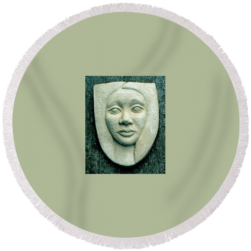 Relief Round Beach Towel featuring the relief Without Veils by Madalena Lobao-Tello