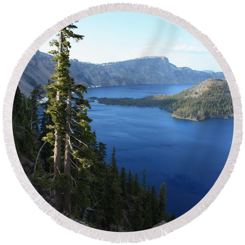 Crater Lake Round Beach Towel featuring the photograph Wizard Island On Crater Lake by Carol Groenen