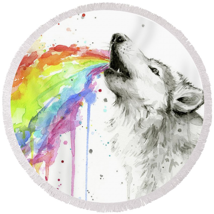 Watercolor Round Beach Towel featuring the painting Wolf and Rainbow by Olga Shvartsur