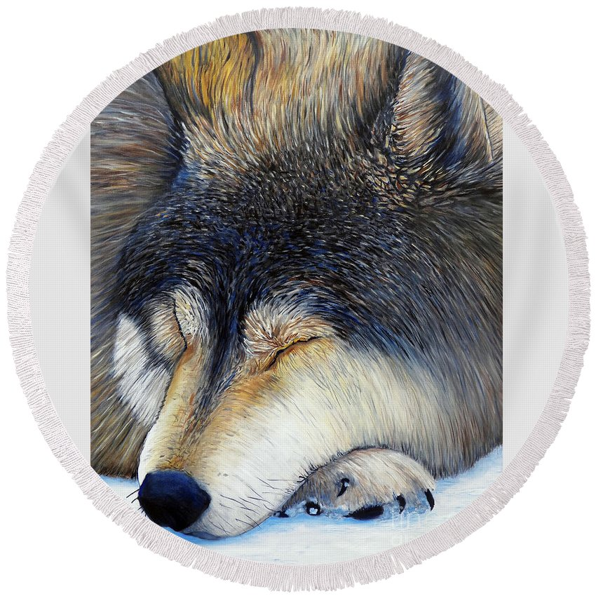Wolf Round Beach Towel featuring the painting Wolf Dreams by Brian Commerford
