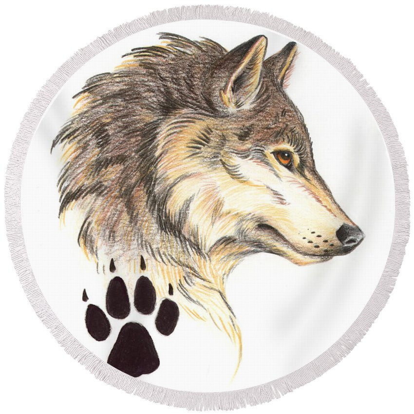 Wolf Round Beach Towel featuring the painting Wolf Head Profile by Melissa A Benson