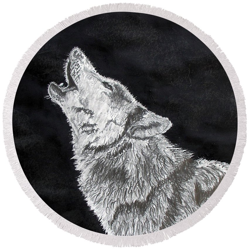 Pencil Round Beach Towel featuring the drawing Wolf Howl by Stan Hamilton