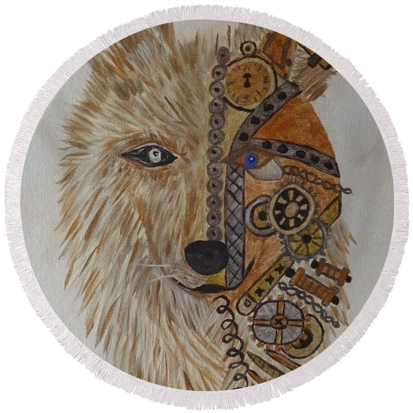 Wolf Round Beach Towel featuring the painting Wolf Machine by Laura Johnson