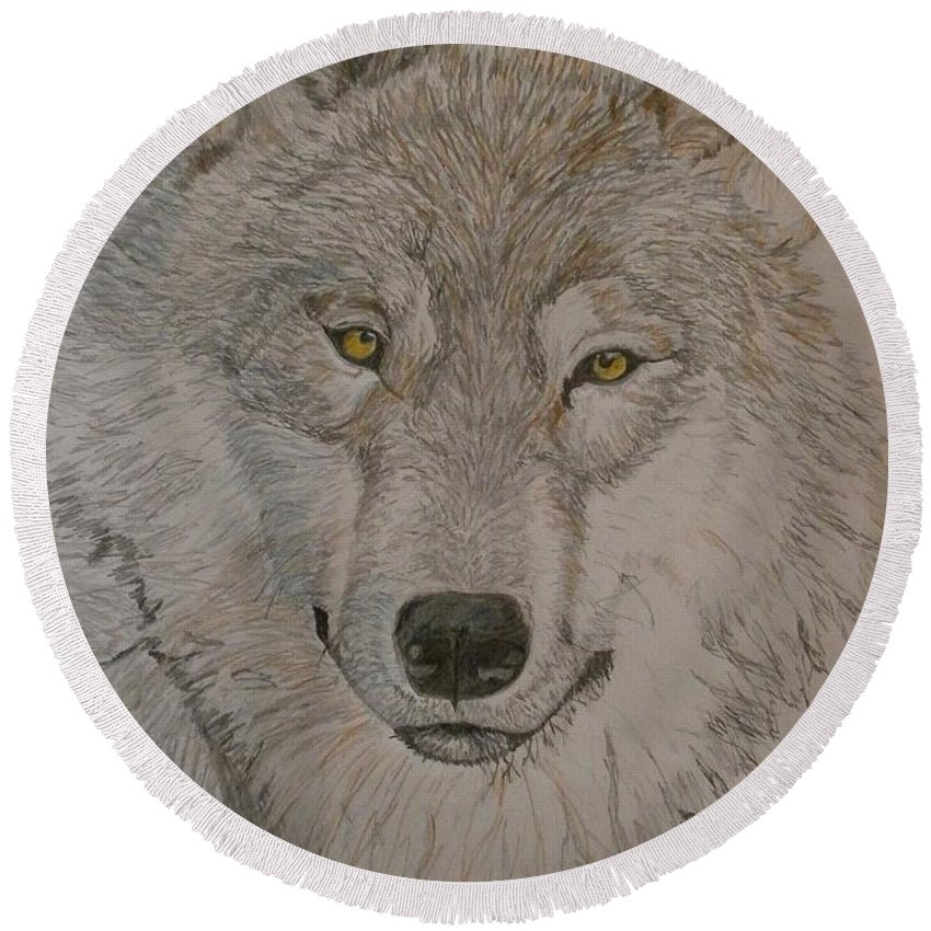 Animal Art. Round Beach Towel featuring the drawing Wolf by Maria Woithofer