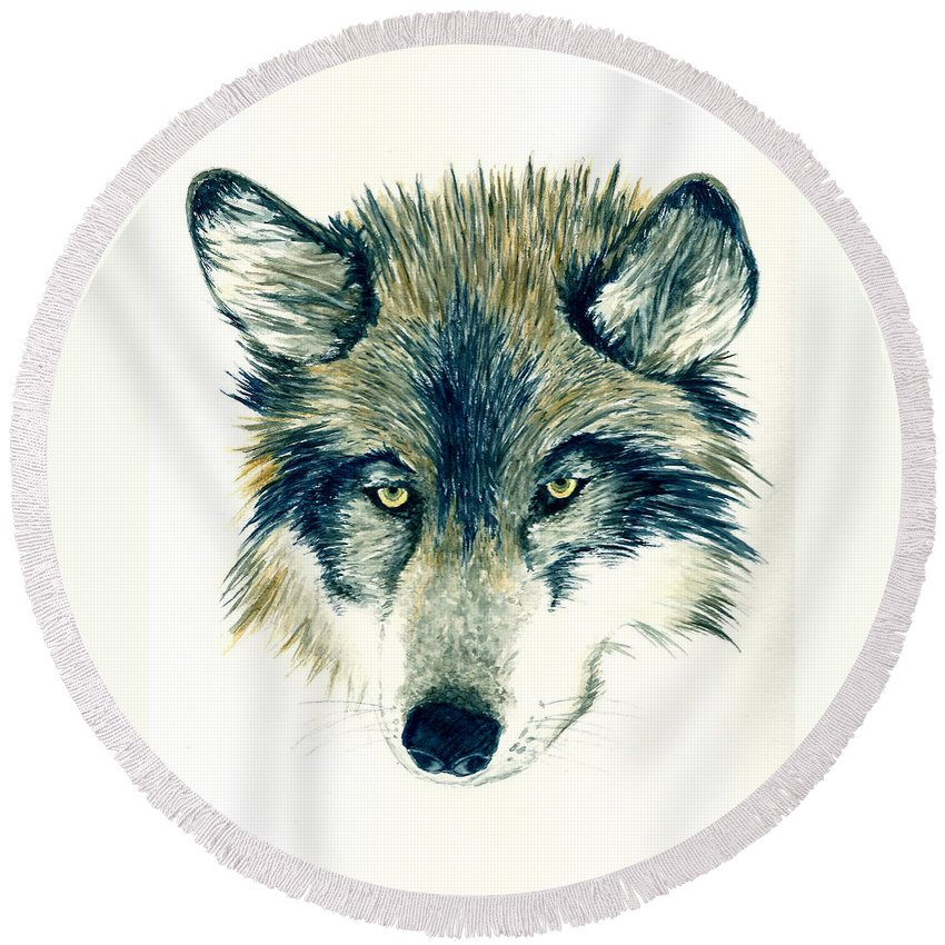Animals Round Beach Towel featuring the painting Wolf by Michael Vigliotti