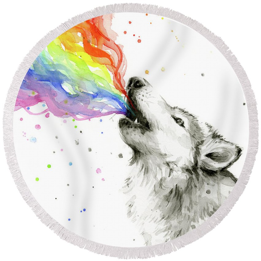 Watercolor Round Beach Towel featuring the painting Wolf Rainbow Watercolor by Olga Shvartsur