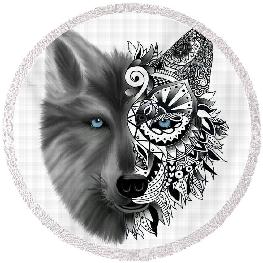 84759205a Wolf Round Beach Towel featuring the digital art Wolf Tattoo by Brittany  Cozzone