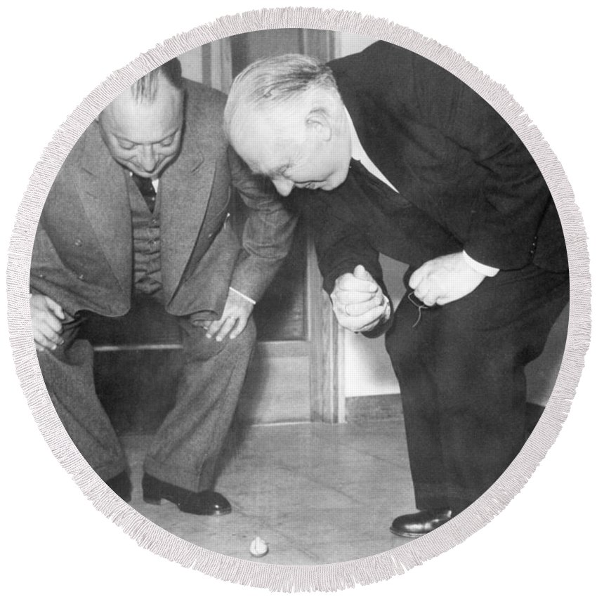 1900s Round Beach Towel featuring the photograph Wolfgang Pauli And Niels Bohr by Margrethe Bohr Collection and AIP and Photo Researchers