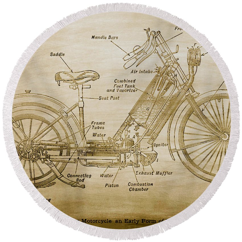 Hildebrand Round Beach Towel featuring the photograph Wolfmueller Motor Cycle 1894 by Bill Cannon