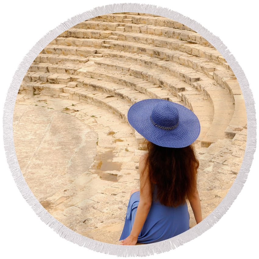 Cyprus Round Beach Towel featuring the photograph Woman At Greco-roman Theatre At Kourion Archaeological Site In C by Maxim Images Prints