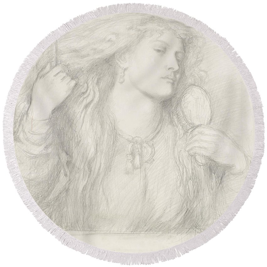 Dante Gabriel Rossetti Round Beach Towel featuring the drawing Woman Combing Her Hair, Fanny Cornforth by Dante Gabriel Rossetti