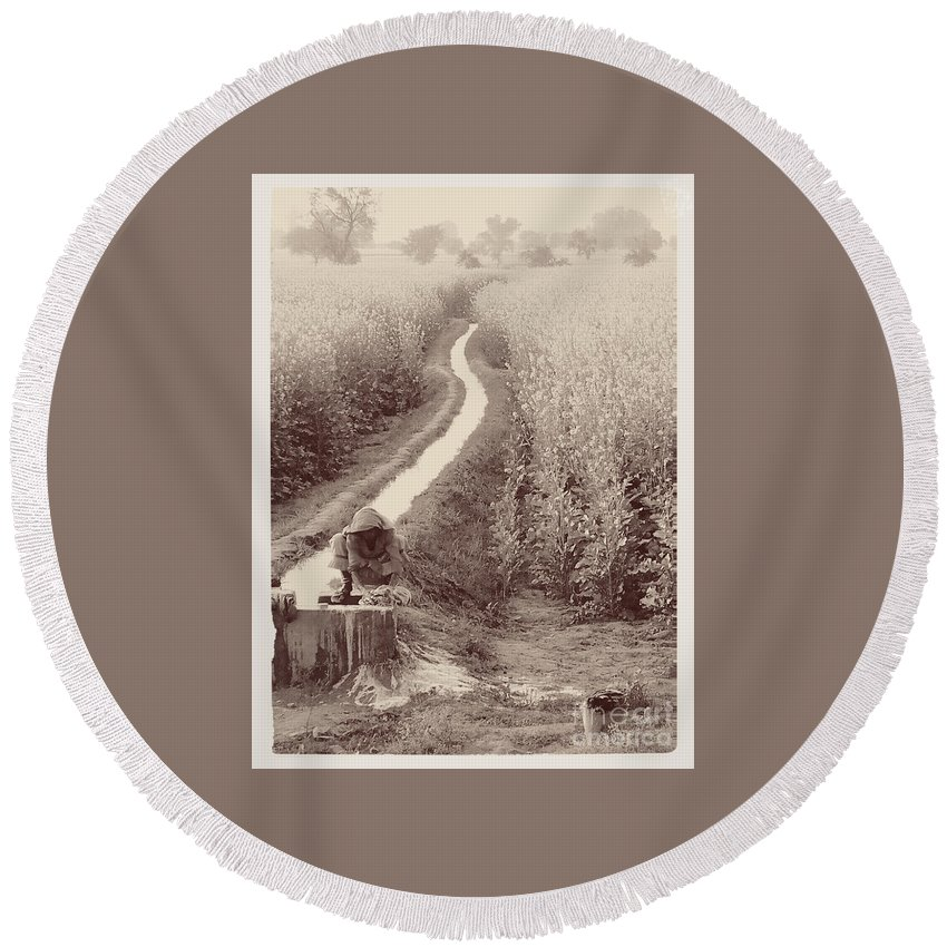 Woman Round Beach Towel featuring the photograph Woman Doing Laundry In Canal- Sepia by Sonal Dave