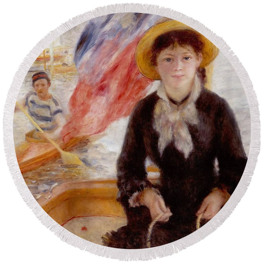 Woman Round Beach Towel featuring the painting Woman In Boat With Canoeist by Renoir