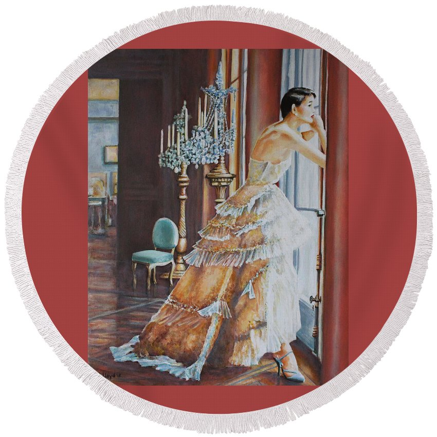 Woman Window Light Ballgown Dress Chandeliers Round Beach Towel featuring the painting Woman Looking Out Of A Window by Andy Lloyd