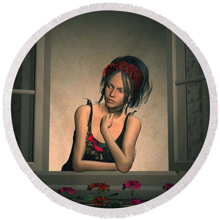 Woman Round Beach Towel featuring the digital art Woman Looking Out Of A Window by John Junek