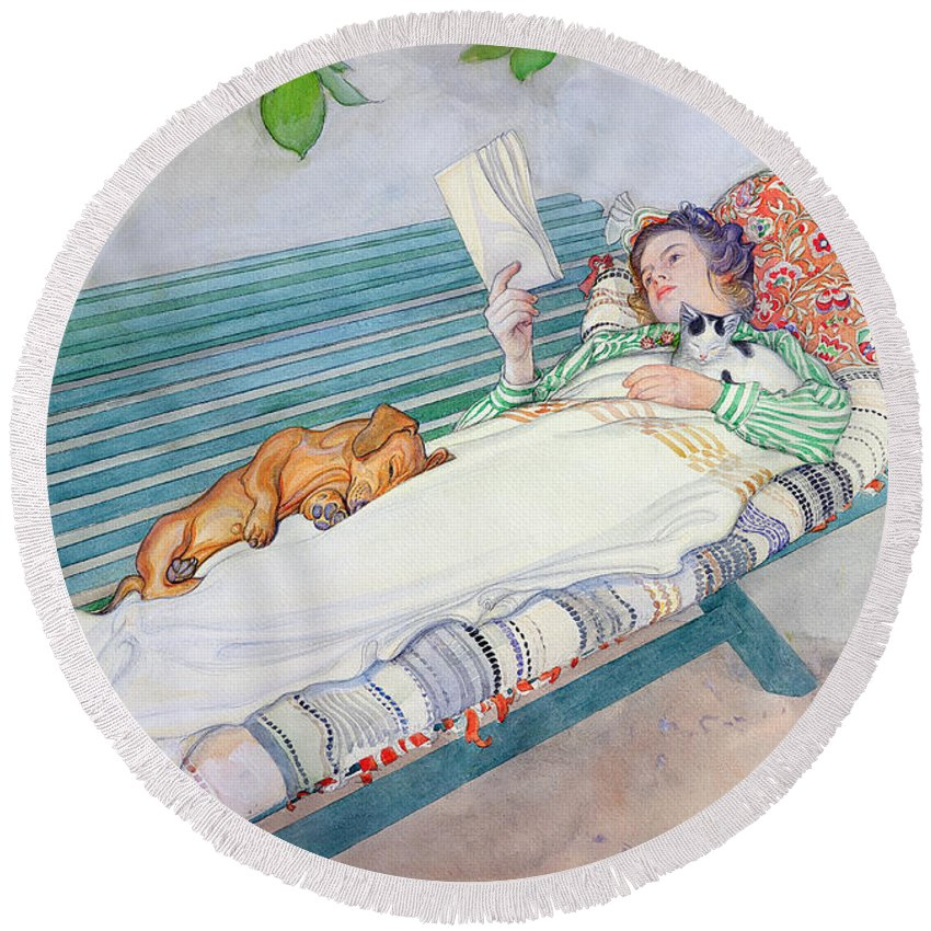 Woman Round Beach Towel featuring the painting Woman Lying on a Bench by Carl Larsson
